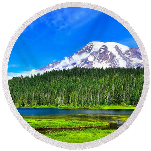 Mt. Rainier From Reflection Lakes Round Beach Towel