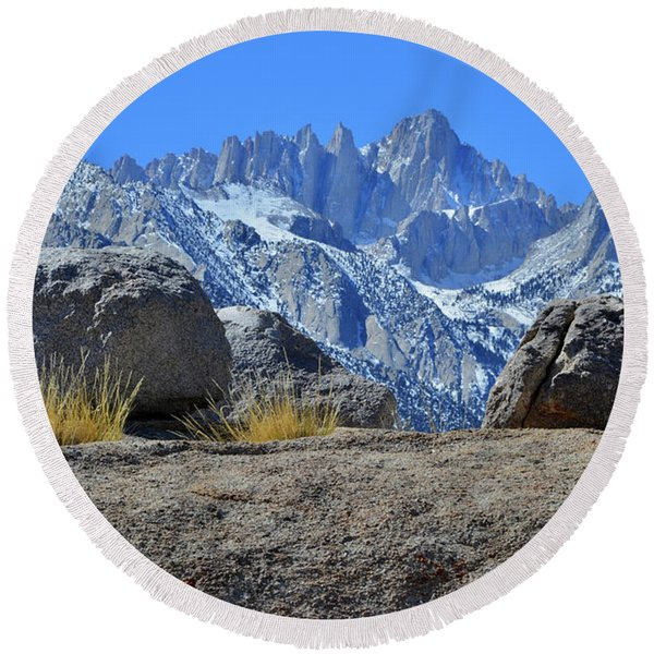 Mt. Whitney - Highest Point In The Lower 48 States Round Beach Towel