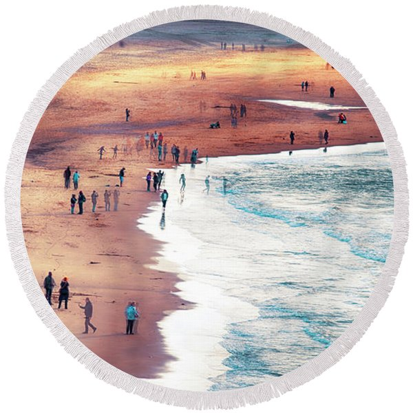 Round Beach Towel featuring the photograph multiple exposure of people on North sea beach  by Ariadna De Raadt