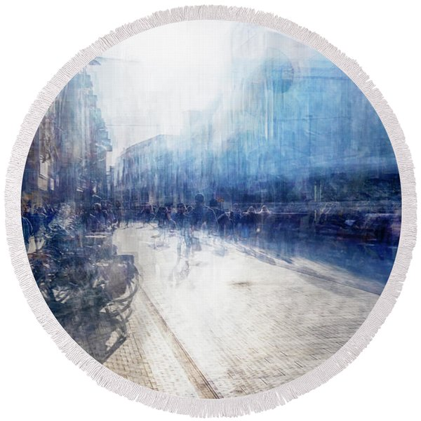 Round Beach Towel featuring the photograph Multiple Exposure Of Shopping Street by Ariadna De Raadt