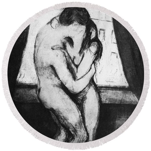 The Kiss, 1895 Round Beach Towel