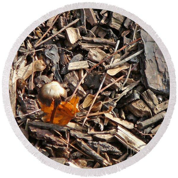 Mushroom With Autumn Leaf Round Beach Towel