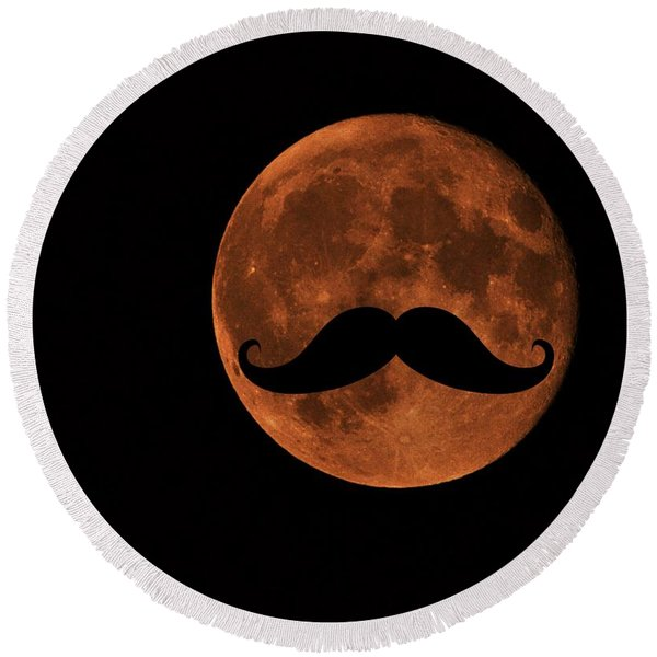 Mustache Moon Round Beach Towel