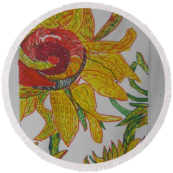 My Version Of A Van Gogh Sunflower Round Beach Towel