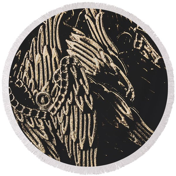Mythical Angels From History Past Round Beach Towel
