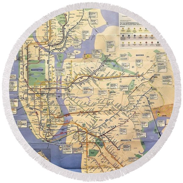 N Y C Subway Map Round Beach Towel