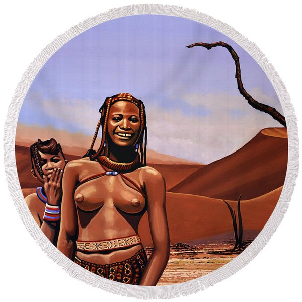 Himba Girls Of Namibia Round Beach Towel