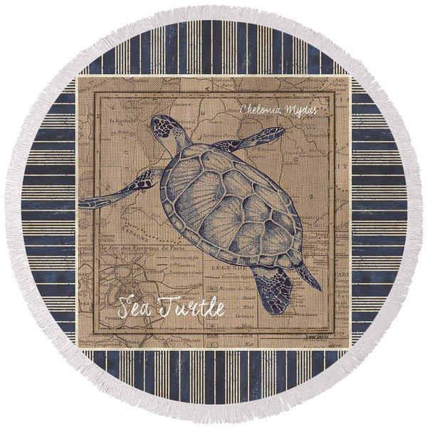Nautical Stripes Sea Turtle Round Beach Towel
