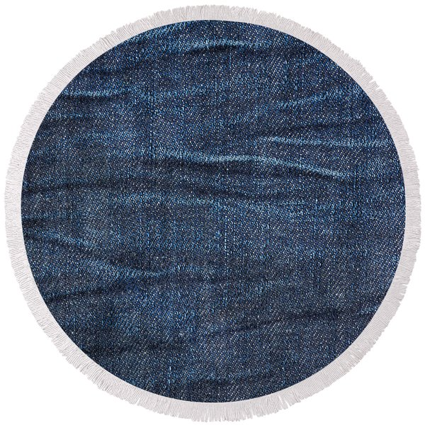 Navy Blue Jeans Cloth Textured Round Beach Towel