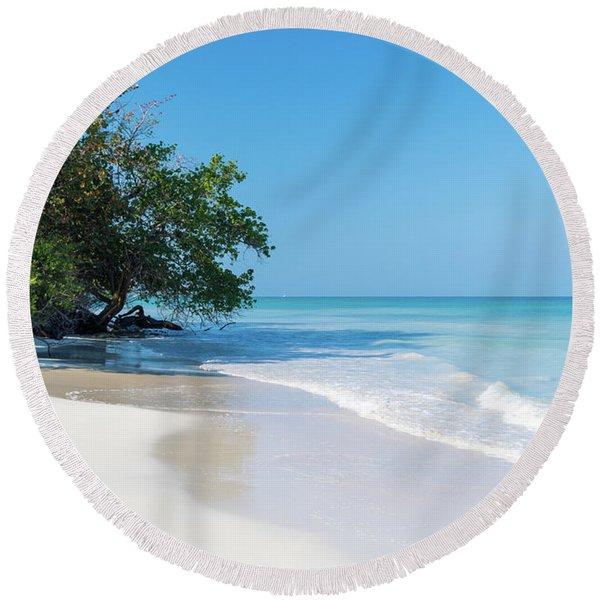 Negril Beach Morning Round Beach Towel