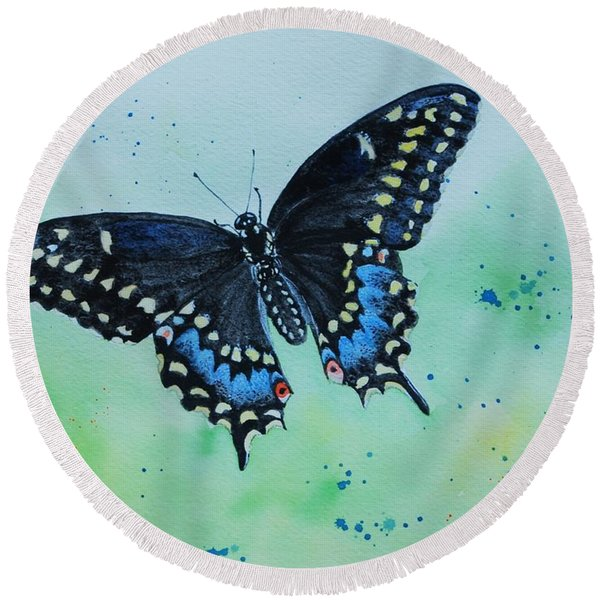 Neon Swallowtail Round Beach Towel
