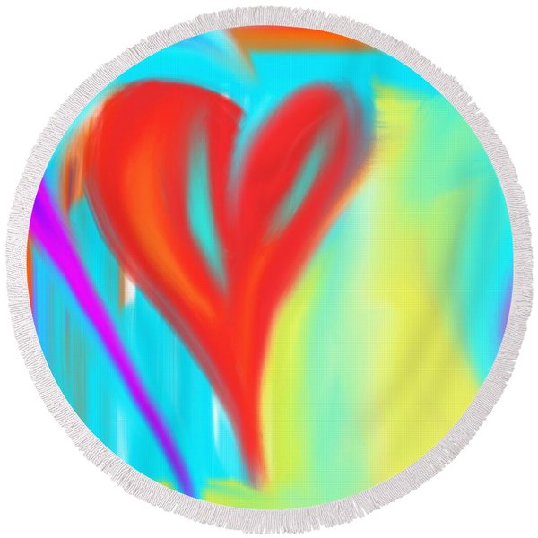New Heart Round Beach Towel