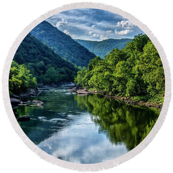 New River Gorge National River 3 Round Beach Towel