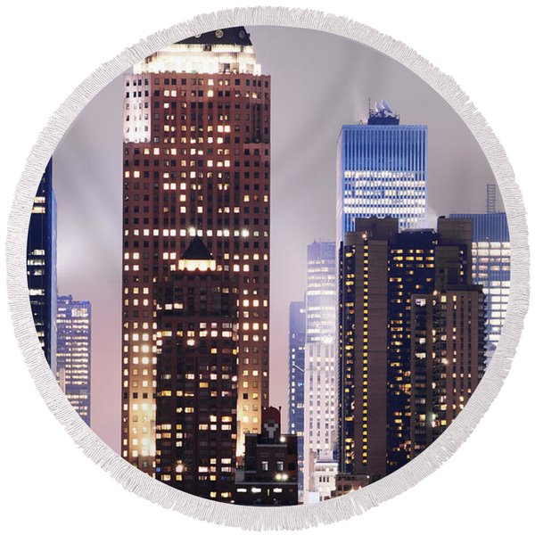 New York Skyscrapers Round Beach Towel