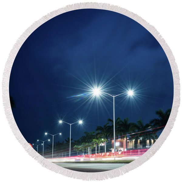 Night Lights In Montego Bay City Round Beach Towel