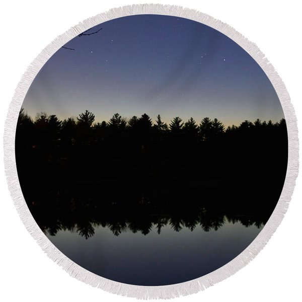 Night Reflects On The Pond Round Beach Towel