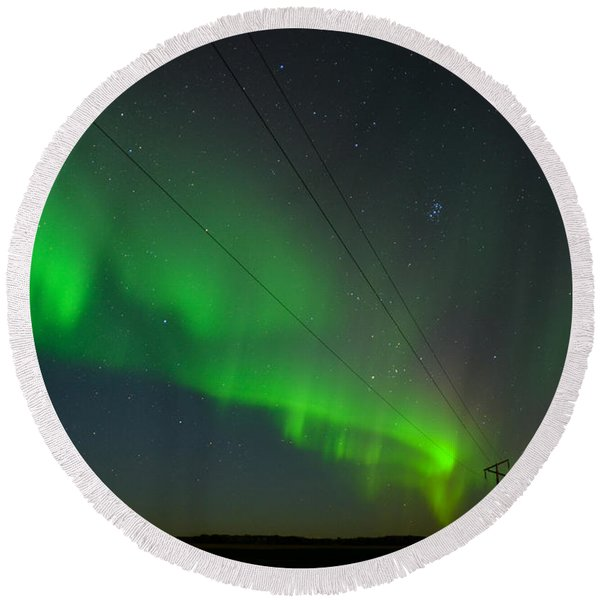 Round Beach Towel featuring the photograph Night Vision by Carl Young