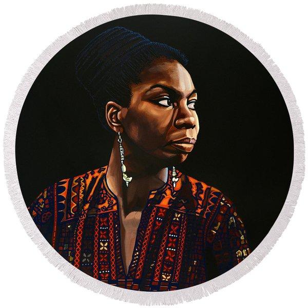 Nina Simone Painting Round Beach Towel