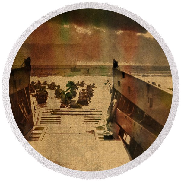 Normandy Beach On Dday World War Two Watercolor Tinted Historical Photograph On Worn Canvas Round Beach Towel