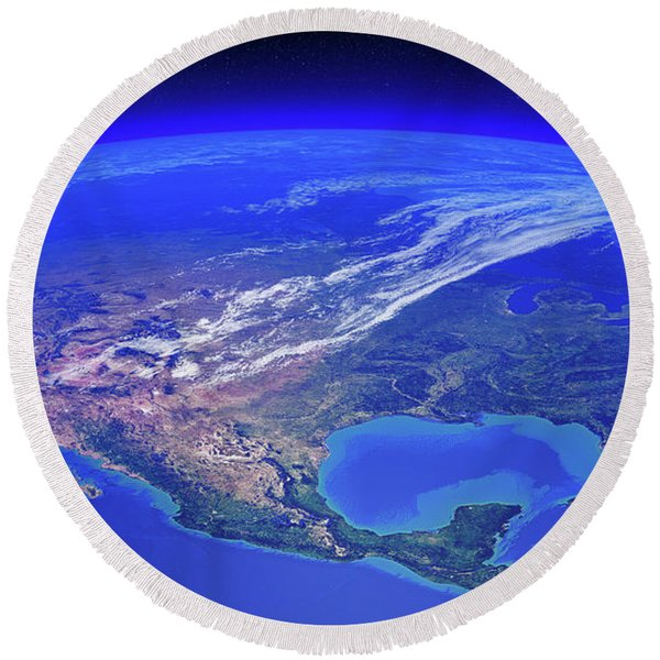 North America Seen From Space Round Beach Towel