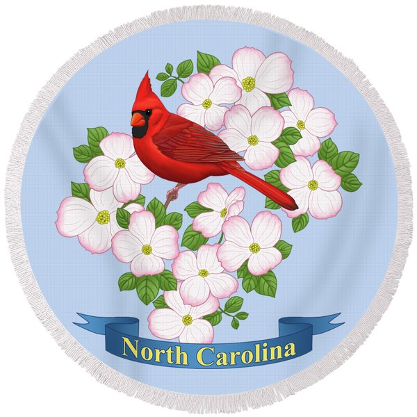 North Carolina State Bird And Flower Round Beach Towel