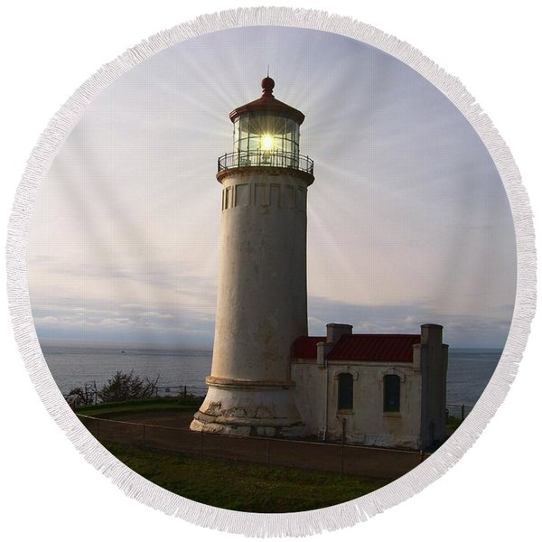 North Head Light Round Beach Towel