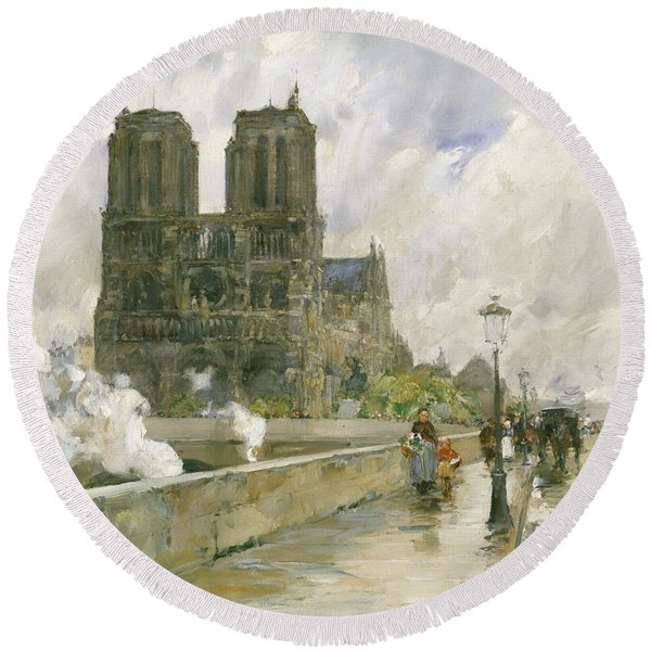 Notre Dame Cathedral - Paris Round Beach Towel
