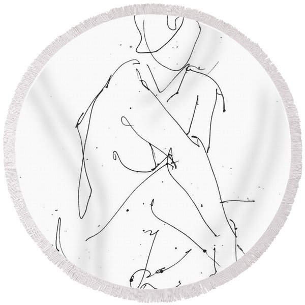 Nude-female-drawing-19 Round Beach Towel