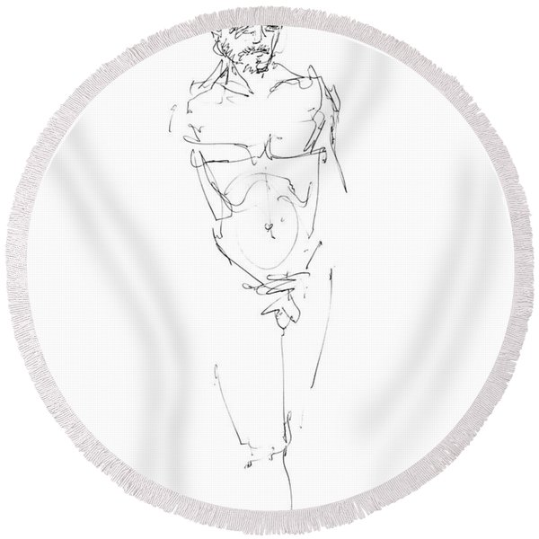 Nude Male Drawings 9 Round Beach Towel