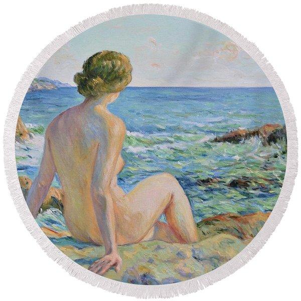 Nude On The Coast Monaco Round Beach Towel