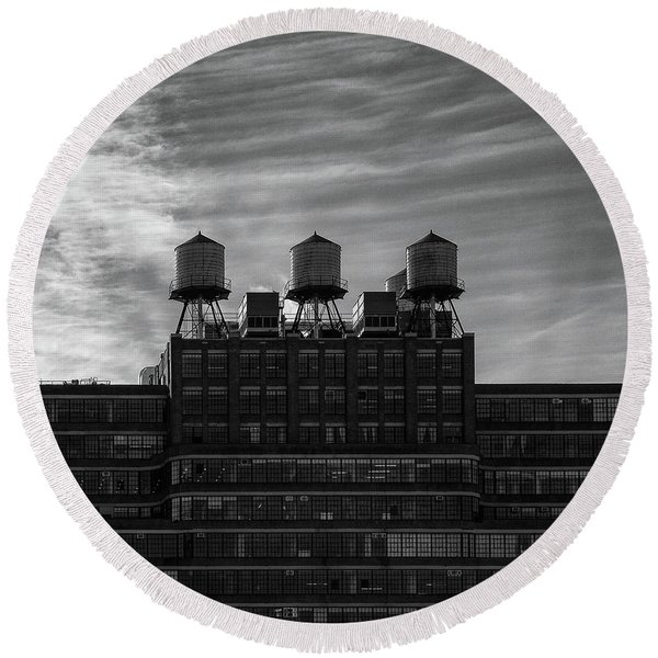 Round Beach Towel featuring the photograph New York Water Towers by Michael Hope
