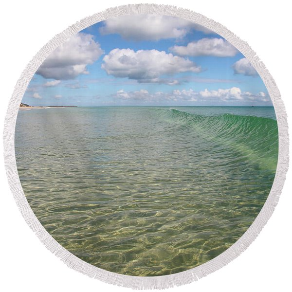 Ocean Waves And Clouds Rollin' By Round Beach Towel