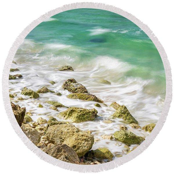 Oceanside In Trelawny, Jamaica Round Beach Towel