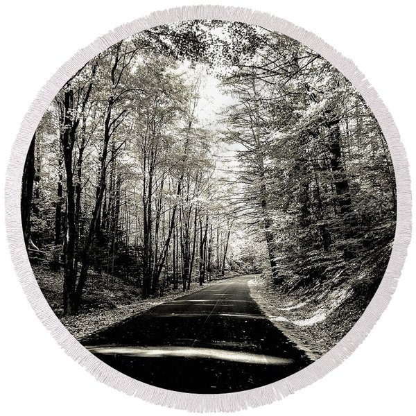 October Grayscale  Round Beach Towel