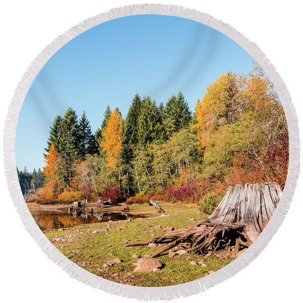 October On The Lake Shore Round Beach Towel