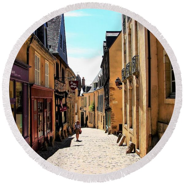 Old Buildings In France Round Beach Towel