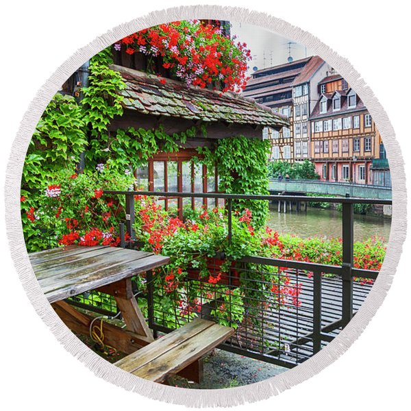 Round Beach Towel featuring the photograph old center of Strasbourg by Ariadna De Raadt