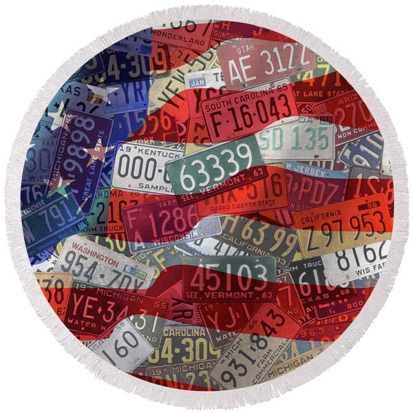 Old Glory In Recycled Vintage License Plates Round Beach Towel