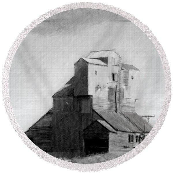 Old Grain Elevator Round Beach Towel