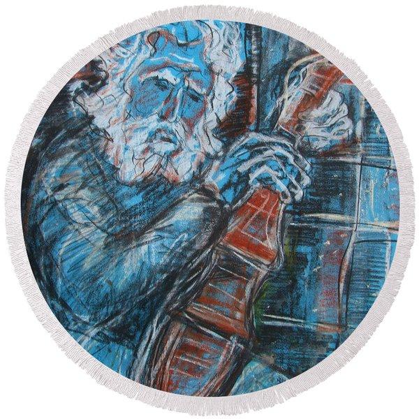 Old Man's Violin Round Beach Towel