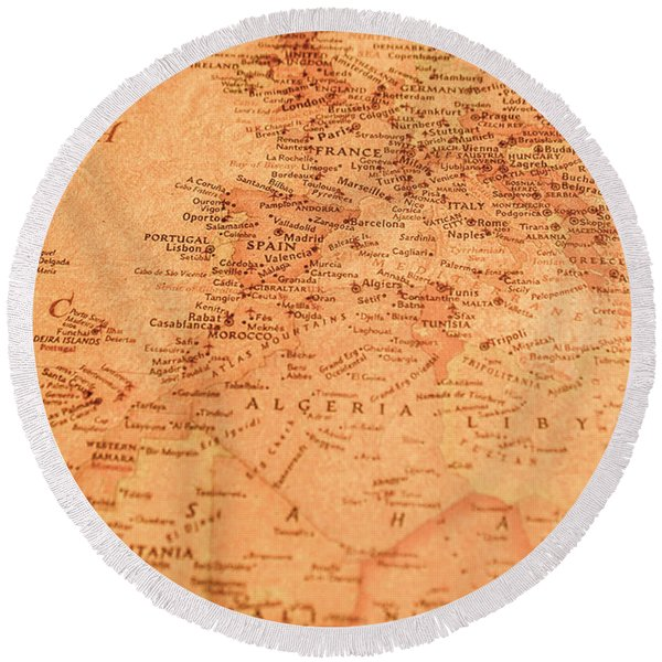 Old Maritime Map Round Beach Towel