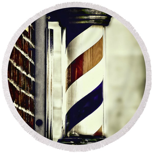 Old Time Barber Pole Round Beach Towel