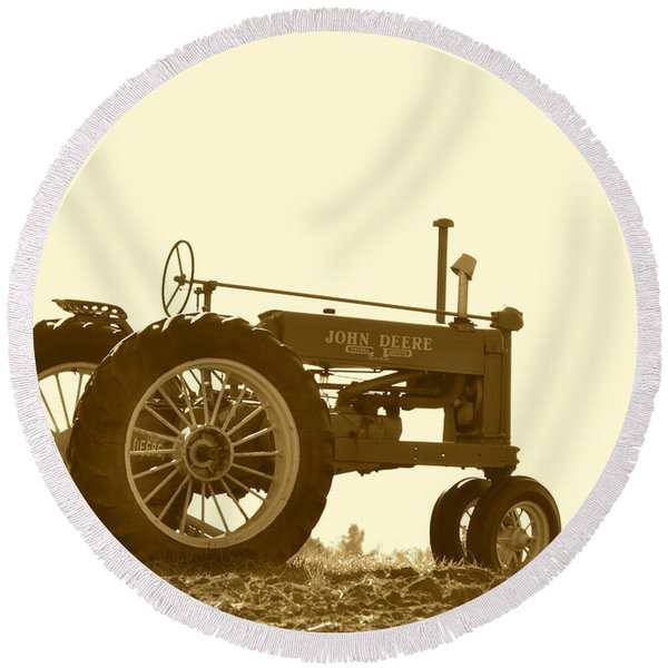 Old Tractor IIi In Sepia Round Beach Towel