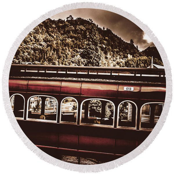 Old Train Passenger Carriage Numbered 13 Round Beach Towel