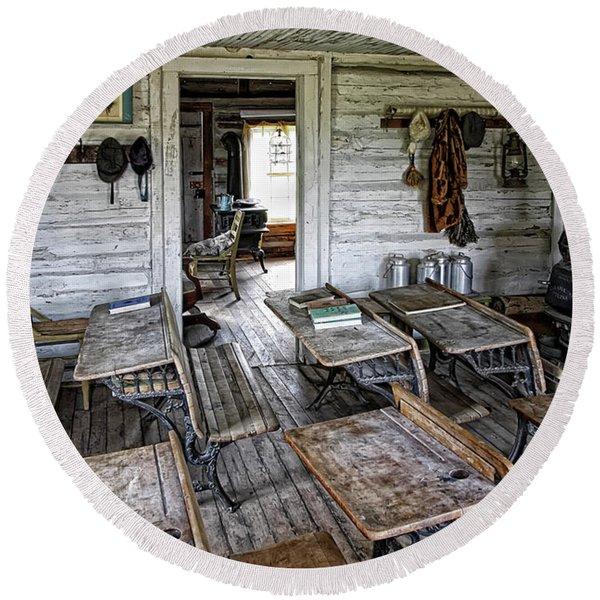 Oldest School House C. 1863 - Montana Territory Round Beach Towel