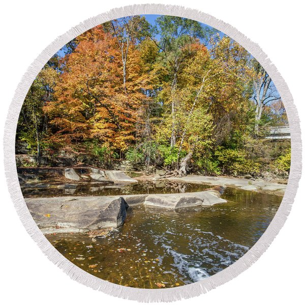 Round Beach Towel featuring the photograph Olmsted Falls Autumn Spendor by Lon Dittrick