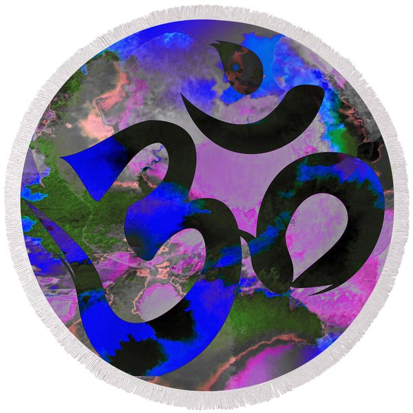 Om Symbol, Black, Blue And Purple Round Beach Towel