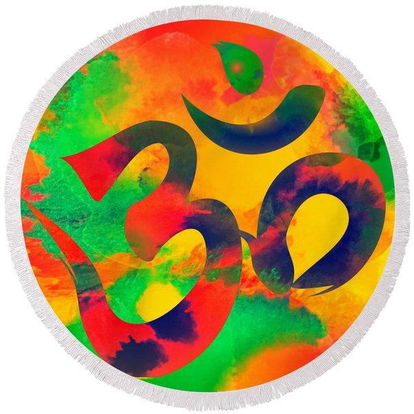 Om Symbol, Green, Yellow And Orange Multicolor Round Beach Towel