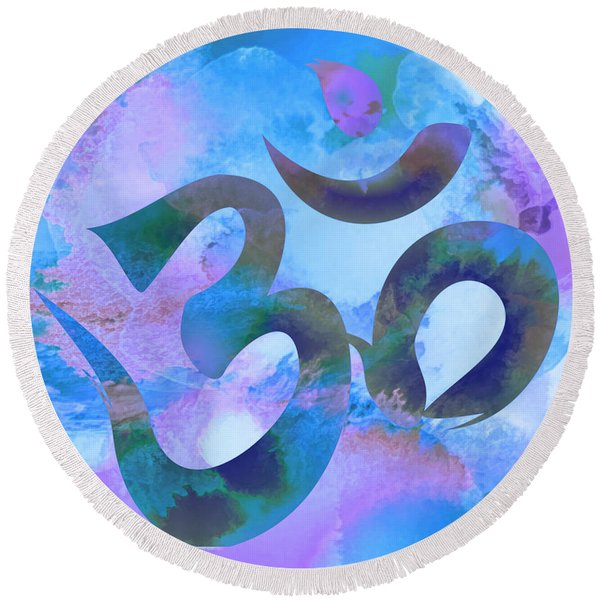 Om Symbol, Light Blue And Purple Pastel Round Beach Towel