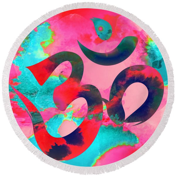 Om Symbol, Pink And Blue Round Beach Towel